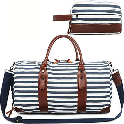 Large Weekender Bag for Women Ladies Men Travel Duffle Overnight Bags with Shoe Compartment