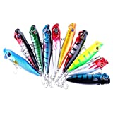 Laimeng 9cm Plastic Popper Fishing Lure Bass Top Water Rattles