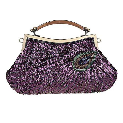 Woman Bag Shoulder Purple Cosmetic Phone Organizer Keys rimovibile Tote Handbag Cell Chain Ipotch Paillettes With wkXn08PO