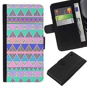iBinBang / Flip Funda de Cuero Case Cover - Native American Pattern Pink Teal - Sony Xperia Z2 D6502 D6503 D6543 L50t