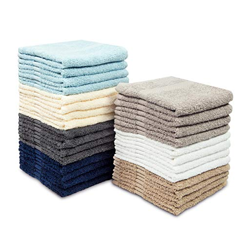 Cotton Craft - 28 Pack Multi Color Wash Cloths - 100% Ringspun Cotton - 12x12 - Light Weight 450 Grams - Quick Drying and Highly Absorbent - Colors - Ivory, ()