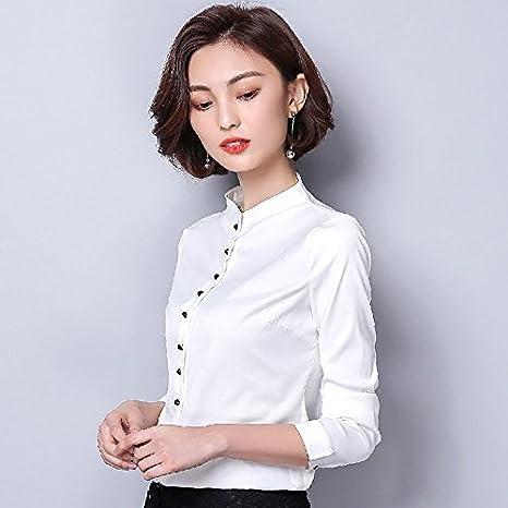 XXIN La Camisa Blanca Long-Sleeved Hembra/Li/Nieve Camisas Tejidas ...