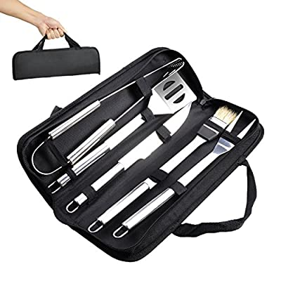 BBQ Grill Tools Set - Elecstory 5 Piece Professional Grade Grill Griddle and BBQ Tool Kit, Stainless Steel BBQ Indoor & Outdoor Grilling Kit, Great for Griddle and Grill in the Backyard, Camping