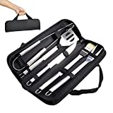 Image of BBQ Grill Tools Set - Elecstory 5 Piece Professional Grade Grill Griddle and BBQ Tool Kit, Stainless Steel BBQ Indoor & Outdoor Grilling Kit, Great for Griddle and Grill in the Backyard, Camping