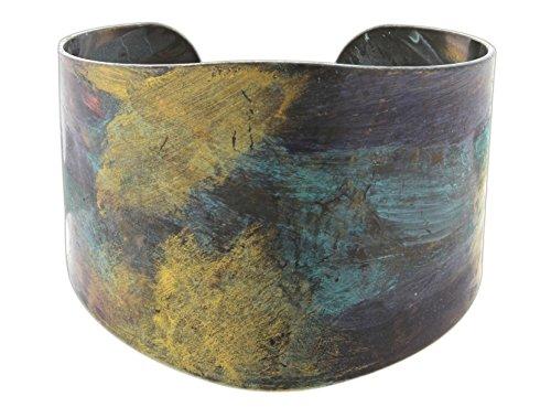 Bronzed Cuff - Rain Wide Cuff Bracelet with Multicolor Bronzed Patina Finish