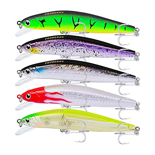 Proberos Fishing Lures Minnow Jerkbait Sinking Lure Set Hard Baits Swimbaits Crankbait for Bass Perch Catfish Musky Tackle with Treble Hooks 5PCS/Pack (Best Bait For Bass And Catfish)