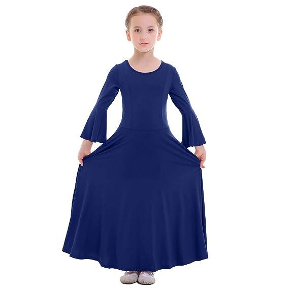 FYMNSI Kid Big Girls Long Bell Sleeve Liturgical Worship Costume Full Length Loose Fit Pleated Praise Dance Dress