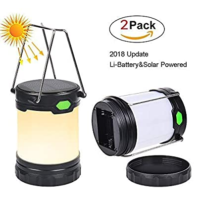 Zoojee Studio Solar Powered Camping Lantern-Solar USB Rechargeable or 3 AA Battery Powered Lantern, Portable LED Camping Lights, Multifunctional LED Lamp Use as Hurricane Lantern, Camping Lamp