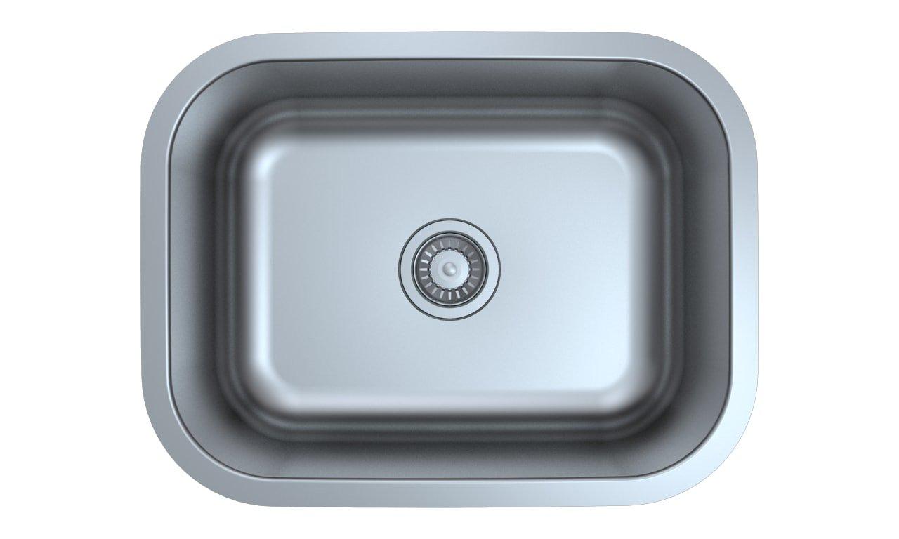 Z Sinks Milan23 Series Stainless Steel Kitchen Sink Milan, Undermount Single Bowl with Strainer, 23.5'' L