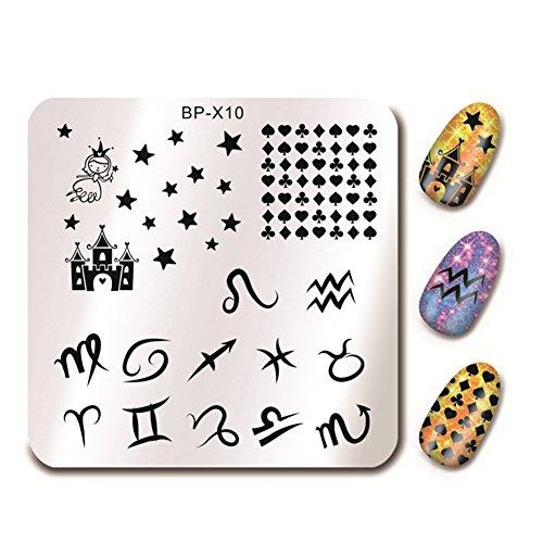 BornPretty 66cm Square Nail Art Stamp Template Zodiac Design Image Plate BP-X10