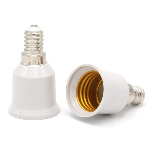 Luminosa - Juego de 2 adaptadores de casquillo E14 a E27 para bombilla led, halógena. Conversor de rosca Edison E14 para rosca Edison estándar E27, ...