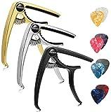 Finrezio 3 Pcs Classical Guitar Capos with 8 Pcs Guitar Picks for Acoustic Guitar (3 Colors a set)