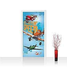 "Photo wallpaper Door   DISNEY Toon Planes Dusty & El Chu Cartoon airplanes   self-adhesive PREMIUM PLUS 35.8""W by 83""H (91x211cm)   ""no. 1031"" by liwwing (R)   Photo Wall Mural Posters & Prints"