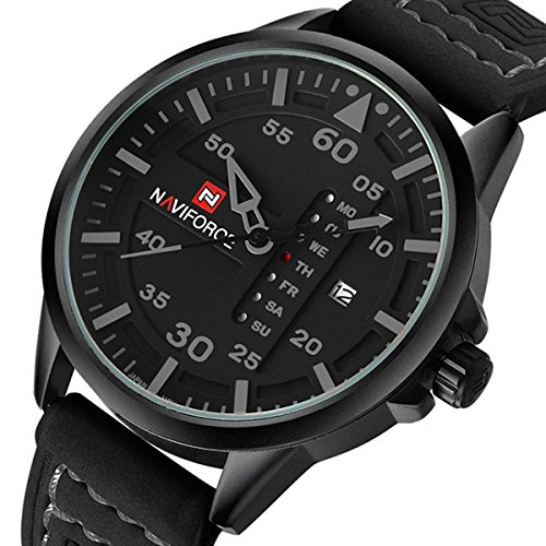 Tonnier Leather Band Week&Calendar Quartz Watches for Men, ()