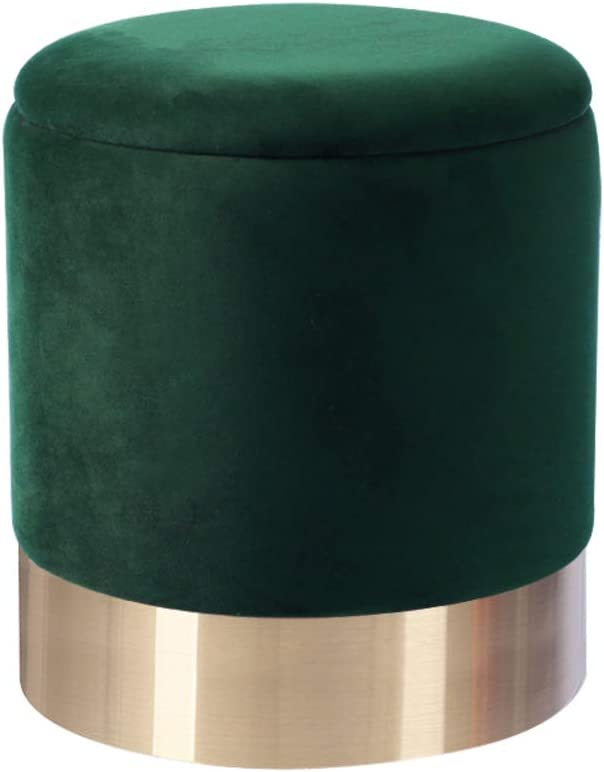 LOVEHOME Round Storage Ottoman,Velvet Padded Seat Dressing Stool Vanity Stool Footrest Pouf for Closet Bedroom Entryway Green A 363642cm((141417inch)