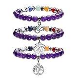 JOVIVI 7 Chakras Gemstone & Amethyst Yoga Meditation Healing Balancing Round Stone Beads Stretch Bracelet with Tree of Life/Lotus/OM Symbol Charm