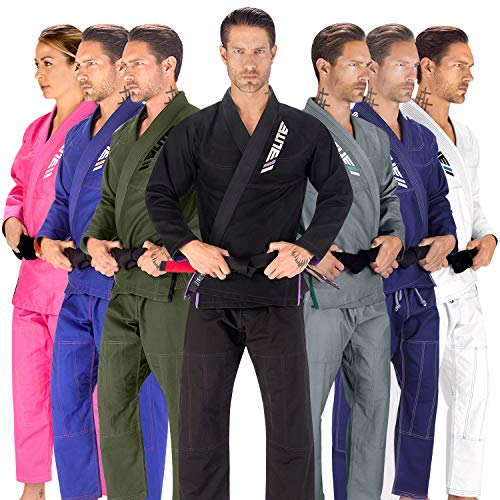 Elite Sports BJJ GI for Men IBJJF Kimono BJJ Jiujitsu GIS W/Preshrunk Fabric & Free Belt (Black, A1)