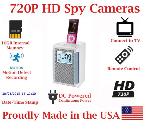 SecureGuard Small iHome iPhone Dock 720P Spy Camera SD Card DVR Self Recording Spy Covert Hidden Nanny Camera