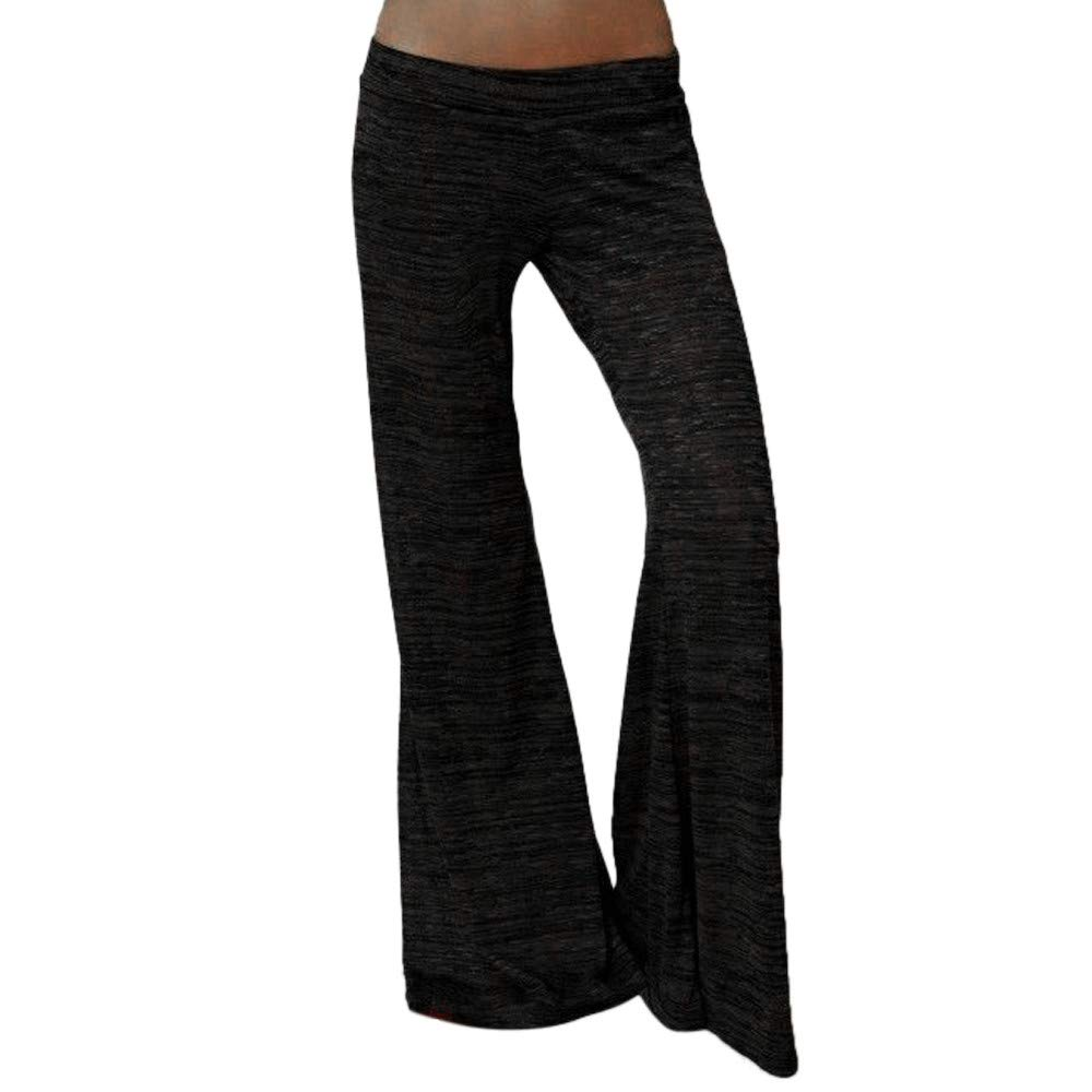iYBUIA Women's Casual Solid Dot Stretchy Wide Leg Palazzo Lounge Pants (XXL, Y-Black)