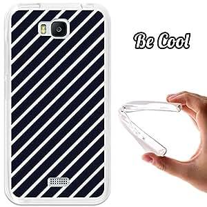 BeCool® - Funda Gel Flexible Huawei Honor Bee Y5C Rayas Blancas Oblicuas Carcasa Case Silicona TPU Suave