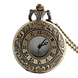 Shirleyle Hollow Flip Bronze Vintage Carved Pocket Watch With Chain For Men Women
