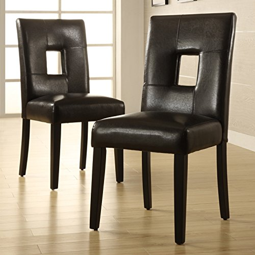 Modern Brown Faux Leather Square Keyhole Dining Chairs and Black Wood Legs - Set of 2 - Includes ModHaus Living (TM) (Leather Keyhole)