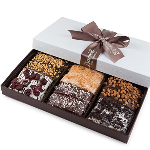 Barnetts Gourmet Chocolate Valentines Biscotti Gift Basket for Him Her Man Woman Unique Corporate Get Well Mothers Day or Birthday Baskets Gifts Idea for Purim Easter 12 pieces, 6 Varieties of Flavors