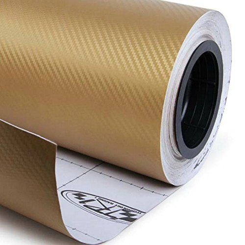 Golden Wrap (DIYAH 3D Golden Carbon Fiber Film Twill Weave Vinyl Sheet Roll Wrap DIY Decals 12