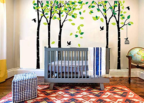 (LUCKKYY Large Five Family Tree Wall Decals with Birds and Birdcage Wall Sticks Family Room Art Decoration (Five-Black))
