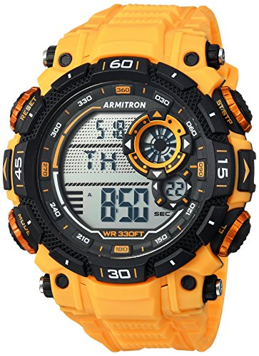 Chronograph Yellow Wrist Watch - Armitron Sport Men's 40/8397YLW Digital Chronograph Yellow Resin Strap Watch