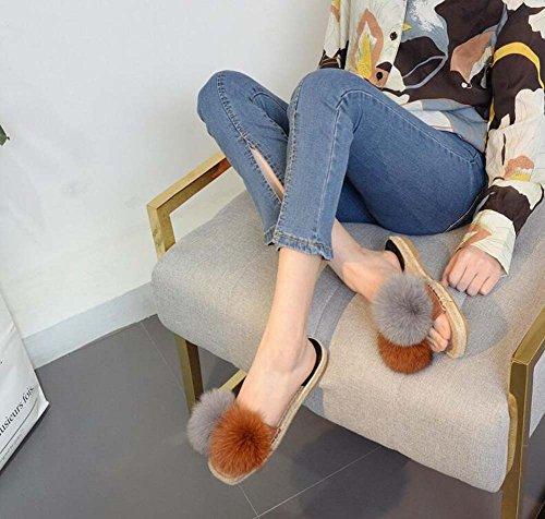 34 Las zapatillas colormatch casuales temperamento chanclas 40 lino tamaño sandalias felpa de zapatillas Brown sandalias de plana Eu mujeres RacqRF