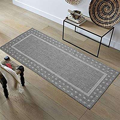 """Ottomanson Jardin Indoor/Outdoor Bordered Runner Rug, Gray, 2'X5', 20"""" x 59"""", Grey - VERSATILE: Robust construction makes it ideal for high-traffic areas indoor or outdoor. DURABLE and LONG LASTING: Power-loomed in Turkey with %100 polypropylene. LOW-PILE HEIGHT is non-shedding and ideal for homes with pets and high-traffic. - runner-rugs, entryway-furniture-decor, entryway-laundry-room - 51Th9UcqacL. SS400  -"""
