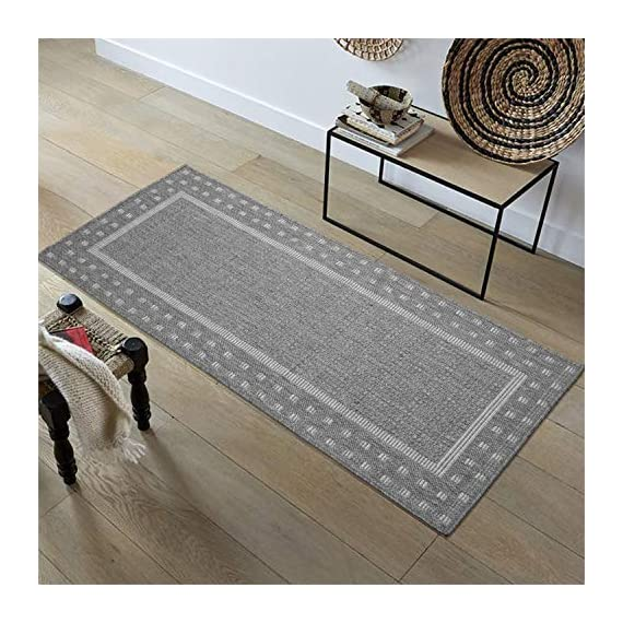 """Ottomanson Jardin Indoor/Outdoor Bordered Runner Rug, Gray, 2'X5', 20"""" x 59"""", Grey - VERSATILE: Robust construction makes it ideal for high-traffic areas indoor or outdoor. DURABLE and LONG LASTING: Power-loomed in Turkey with %100 polypropylene. LOW-PILE HEIGHT is non-shedding and ideal for homes with pets and high-traffic. - runner-rugs, entryway-furniture-decor, entryway-laundry-room - 51Th9UcqacL. SS570  -"""