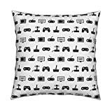 Roostery Video Game Organic Sateen Throw Pillow Pattern Black and White Vintage Retro Fun Gaming by Cloudycapevintage Cover and Insert Included