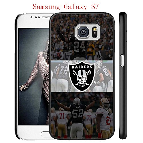 Samsung Galaxy S7 Case, Raiders Logo 16 Drop Protection Never Fade Anti Slip Scratchproof Black Hard Plastic Case ()