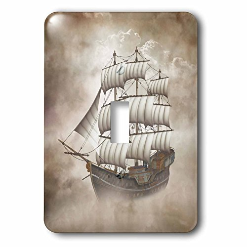 3dRose lsp_181700_1 a Old Sailing Ship Sails Through The Clouds, Fantasy Scene Light Switch Cover (Ship Sailing Large)