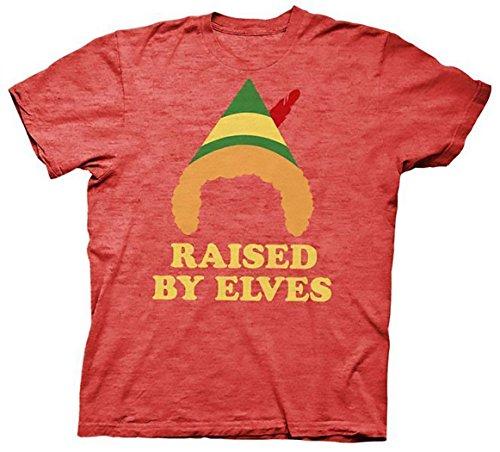 Ripple Junction Elf The Movie Christmas Raised by Elves T-Shirt (Medium, Heather Red)