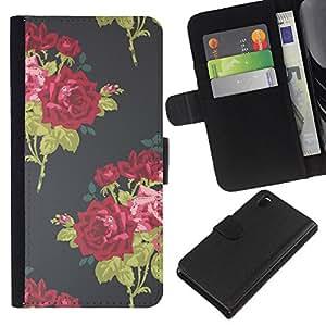 KLONGSHOP // Tirón de la caja Cartera de cuero con ranuras para tarjetas - Rose Bouquet Wallpaper Vignette - Sony Xperia Z3 D6603 //
