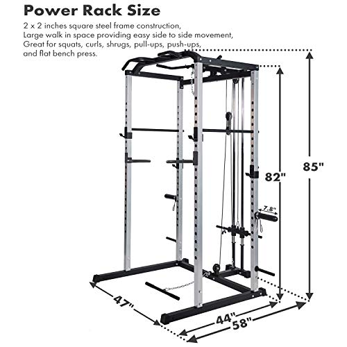 Fitness Power Rack Power Cage Home Gym Equipment Exercise Stand Olympic Squat Cage with LAT Pull Attachment, Multi-Grip Pull-up Bar and Dip Handle