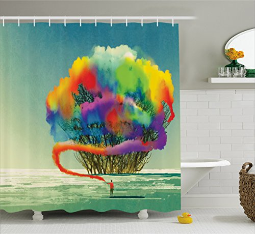 Ambesonne Fantasy Art House Decor Shower Curtain by, Psychedelic Man Draws Abstract Tree with Colored Smoke Flare Be Creative, Fabric Bathroom Decor Set with Hooks, 84 Inches Extra Long, - Smoke Flare
