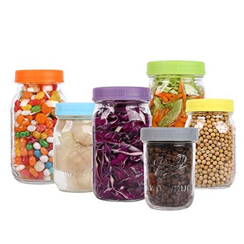 Aozita Plastic Wide Mouth Mason Jar Lids for Ball Food Grade Colored Caps
