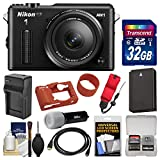 Nikon 1 AW1 Shock & Waterproof Digital Camera Body with AW 11-27.5mm Lens (Black) with 32GB Card + Silicone Case + Battery & Charger + LED Torch + Kit