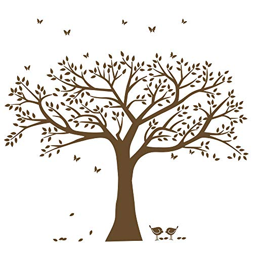 ANBER Family Tree Wall Decal Butterflies and Birds Wall Decal Vinyl Wall Art Photo Frame Tree Stickers Living Room Home Decor Wall Sticker ()