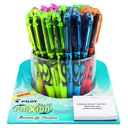 PILOT FriXion Light Erasable Highlighters, Tub of 48 Capped Highlighters, Chisel Tip, Assorted Colors (5914A)