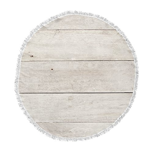 KESS InHouse Susan Sanders Wash Wood Beige White Round Beach Towel Blanket by Kess InHouse (Image #1)