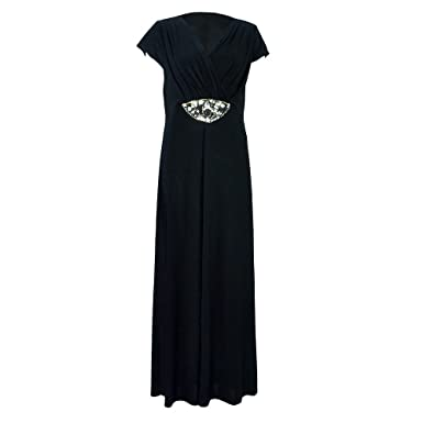 Ladies Plus Size Embellished Maxi Dress Black - 24