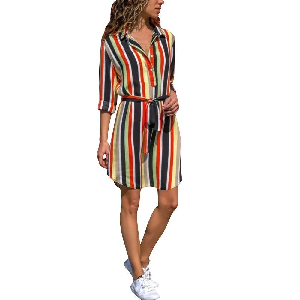 ABASSKY Women's Stripe Print Dress Sexy Bohemia Long Sleeve Mini Dress (M, Green)