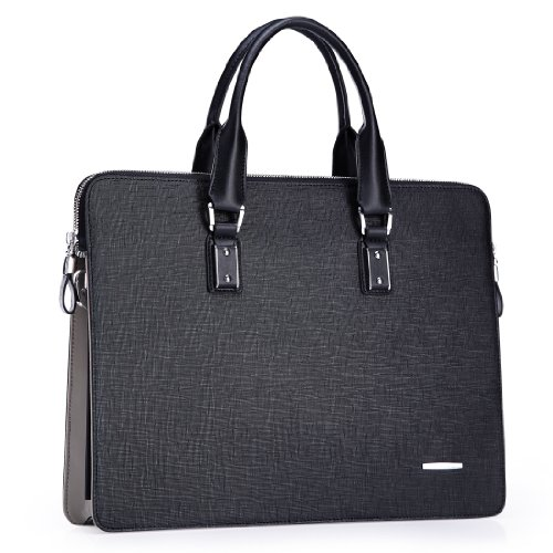 Teemzone Men's Real Leather Business Casual Briefcase Lap...