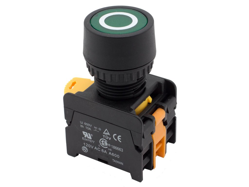 Alpinetech PFL-22 Green 22mm 1NC 1NO Latching Maintained Push Button Switch 110V LED Illuminated