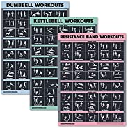 3 Pack Dumbbell Exercise Poster + Kettlebell Workouts + Resistance Bands Exercises - Set of 3 Workout Charts [